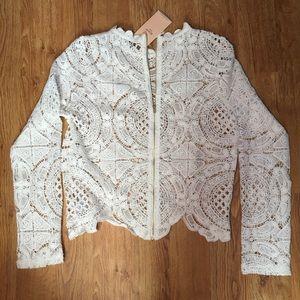 Jackets & Blazers - Gorgeous crochet white zip up jacket